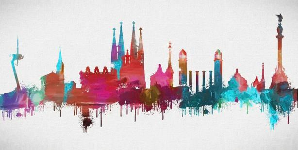 colorful-barcelona-skyline-silhouette-dan-sproul